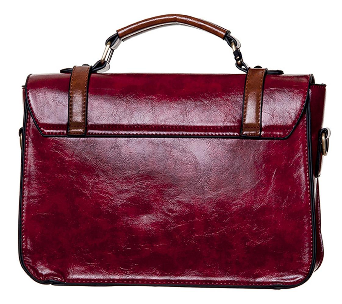 ab3cfdb13aa6 STEAMPUNK STORY BBN783-RED Sac à main cartable rouge et marron imitation  cuir Steampunk