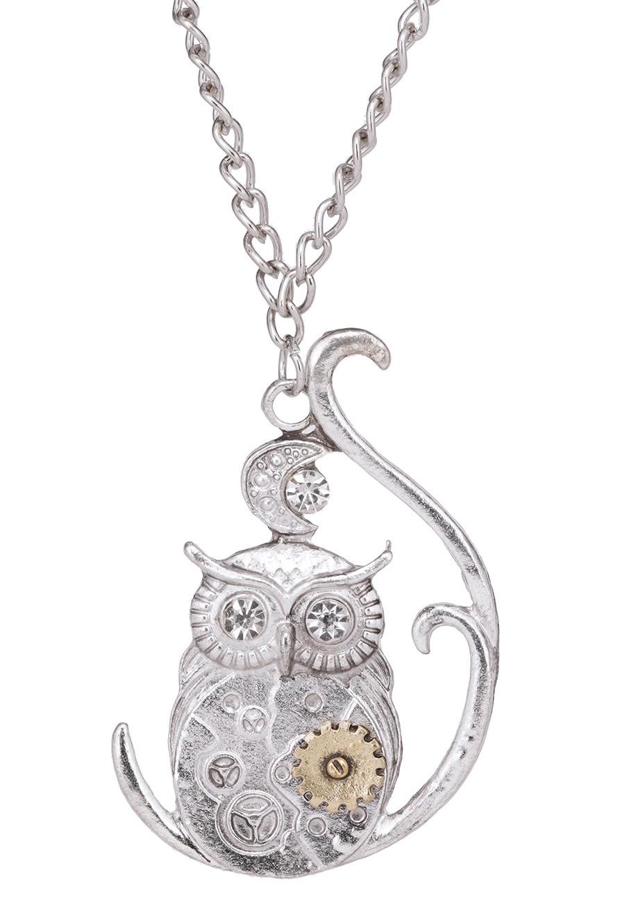 Collier hibou mécanique couleur argent, bijoux steampunk ...
