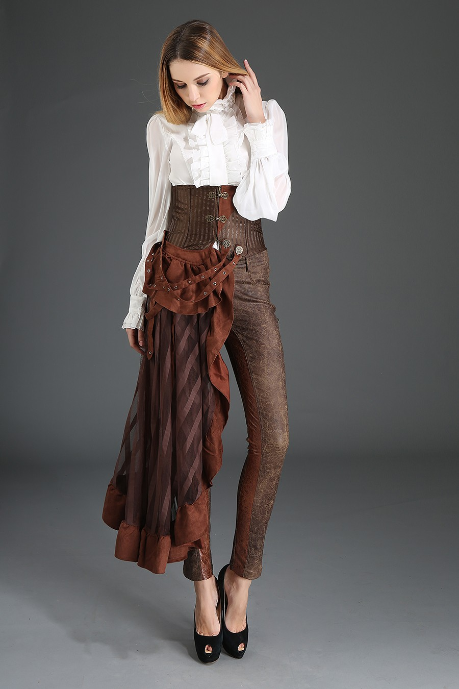 839c235537 STEAMPUNK STORY S030016B BRUN Brown lined underbust corset with  asymmetrical pan skirt steampunk strap
