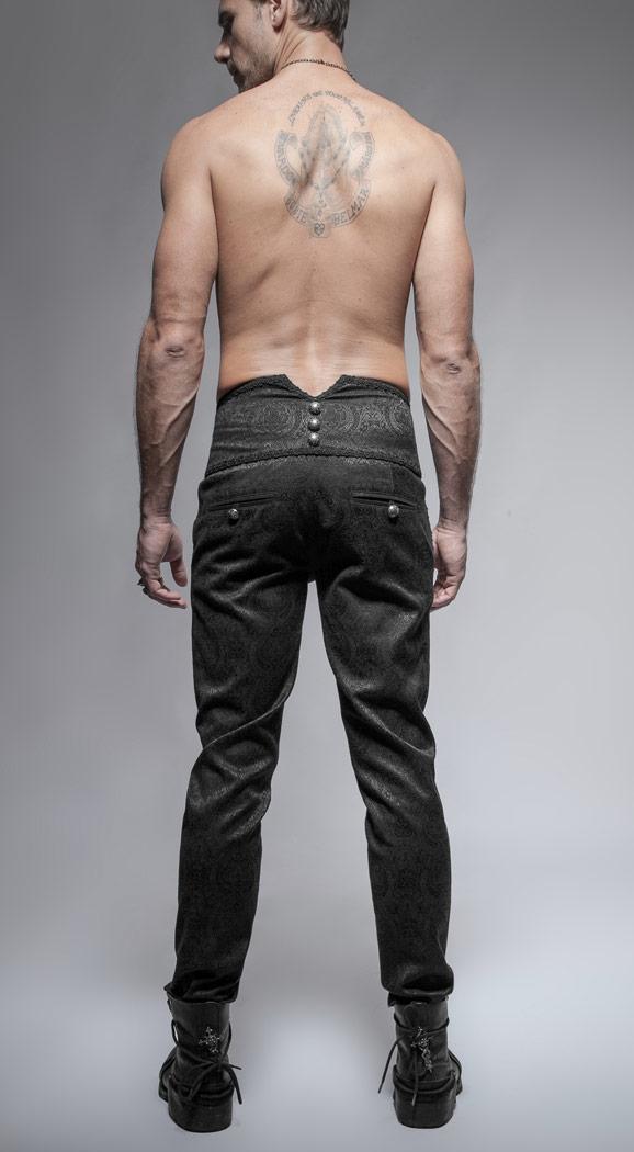 Pantalon Aristocrate Punk Broderies Rave Noir Homme Gothique 3AL5R4j