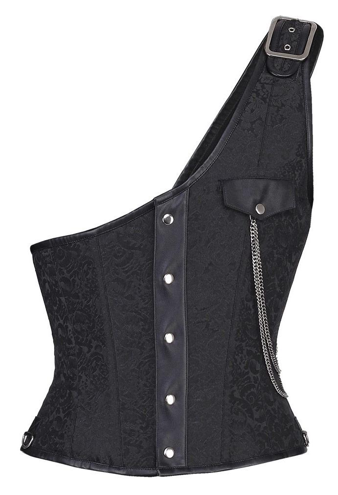 chaussures de séparation conception adroite très convoité gamme de Corset homme veston noir gothique steampunk élégant brocart et chaine