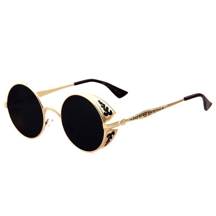 top fashion newest best price Lunettes rondes dorées décorées à verres noirs, steampunk ...