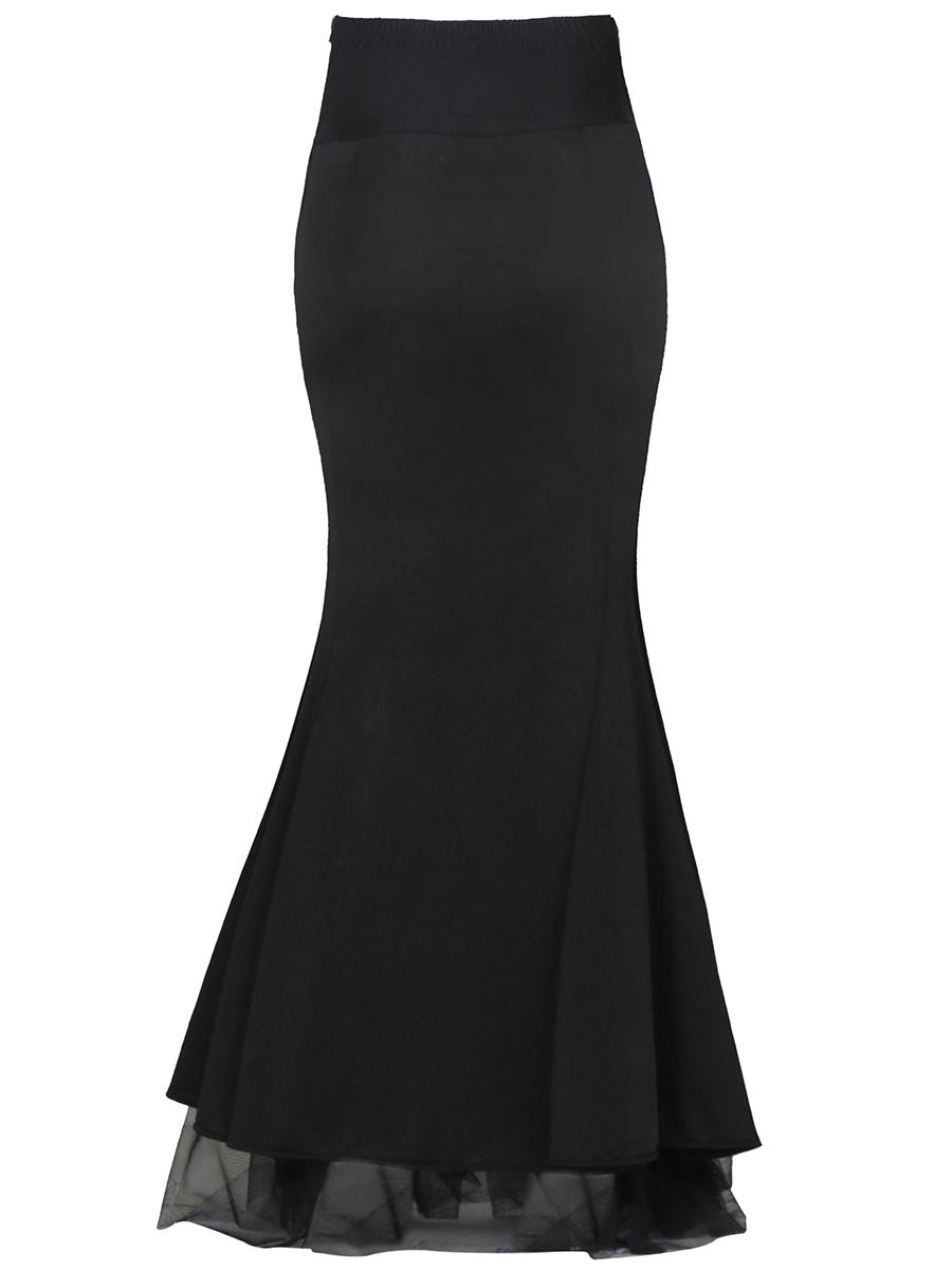 45458c64276f8b Longue jupe noirE sirène gothique romantique victorien steampunk