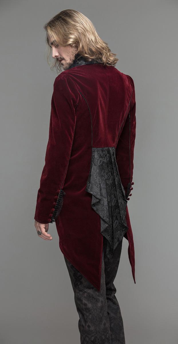 Velours Brodée Rouge Attache Col Décoré En Homme Élégant Et Veste xPXCEE