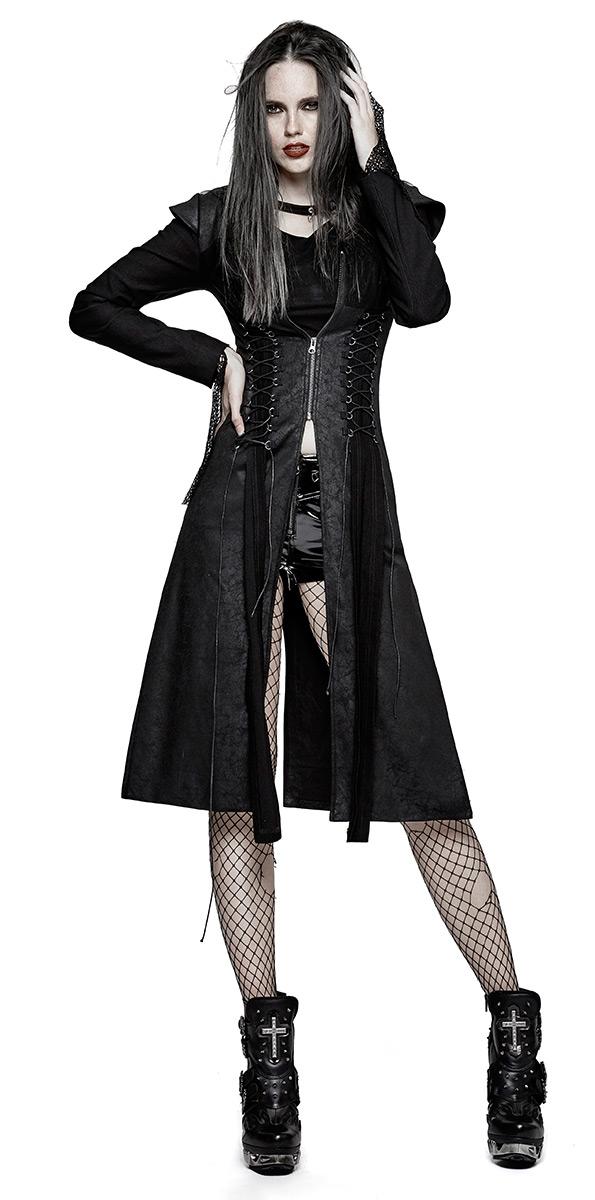 Veste longue noire femme, dos nu, laçages, pics et fermeture éclair, punk  rock gothique 98494cca6d94