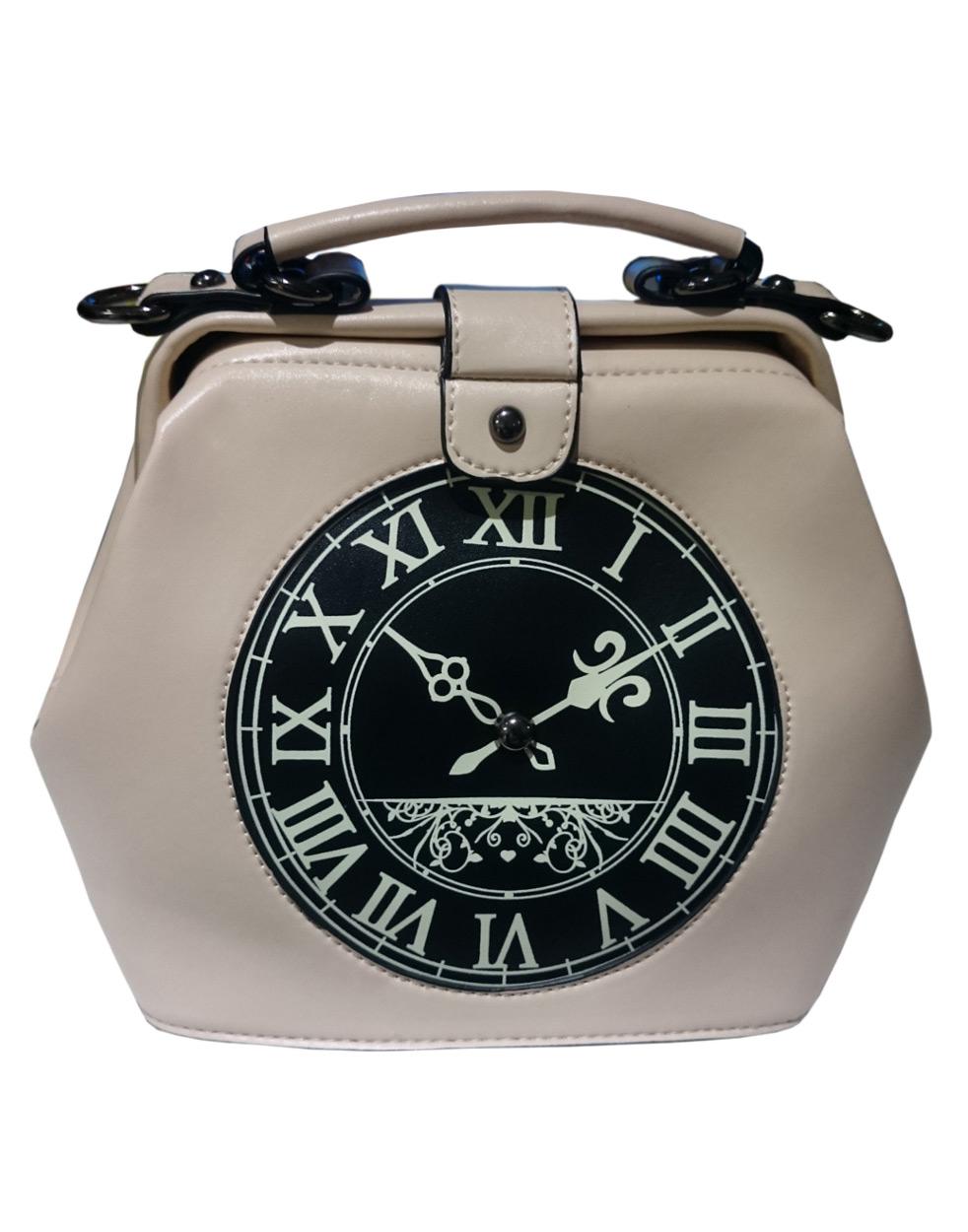 d388d02dd381 Sac main crème avec motif d horloge retro steampunk pin-up
