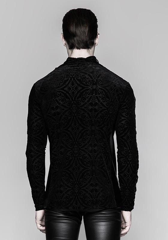 t shirt noir manches longues pour homme en velours avec motifs baroque et la age punk rave. Black Bedroom Furniture Sets. Home Design Ideas
