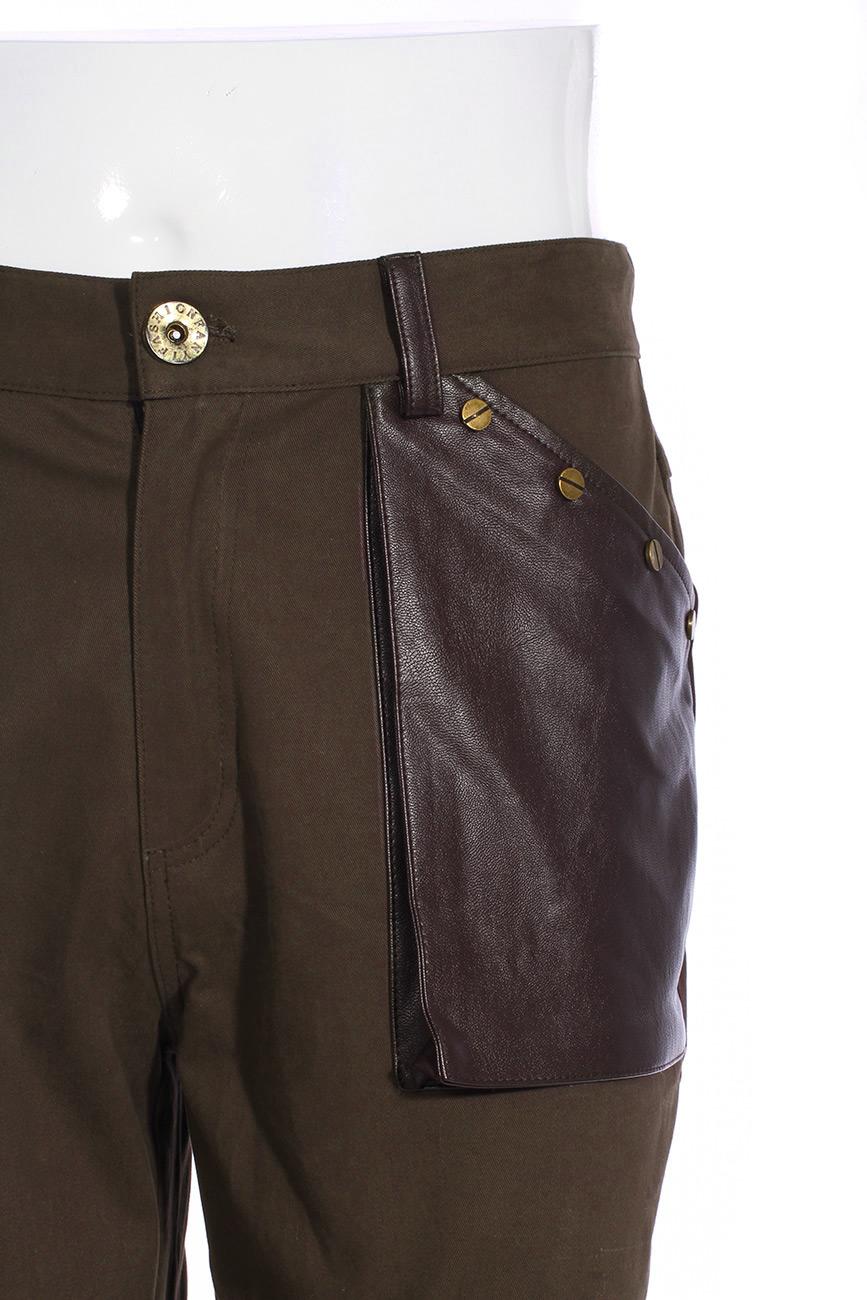 pantalon vert homme avec poches imitation cuir marron la ages et anneaux steampunk rqbl. Black Bedroom Furniture Sets. Home Design Ideas