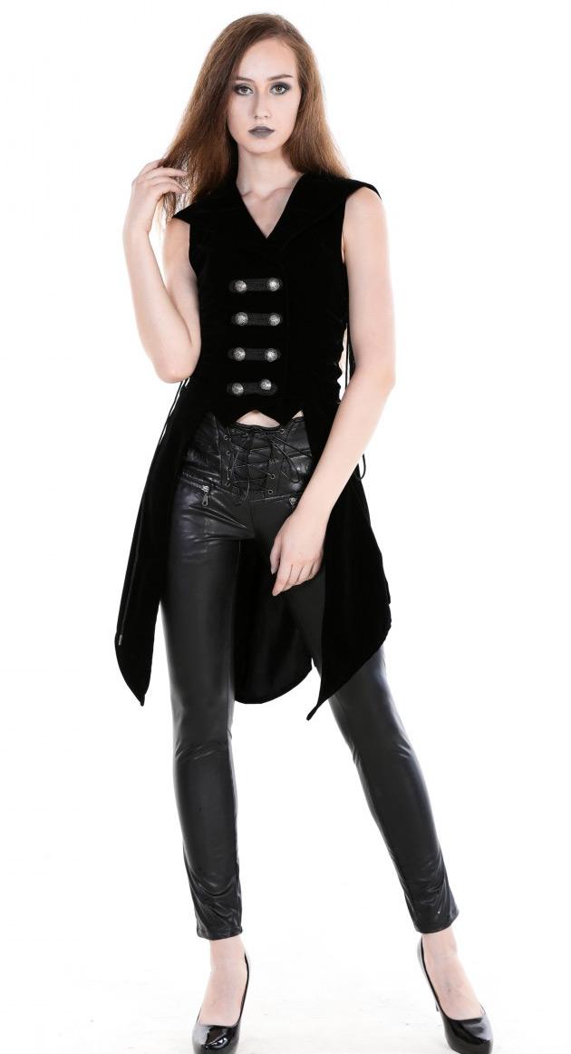 STEAMPUNK STORY M080058VELVET Gilet noir sans manches en velours avec  capuche, gothique rock aristocrate 77ac71657bee