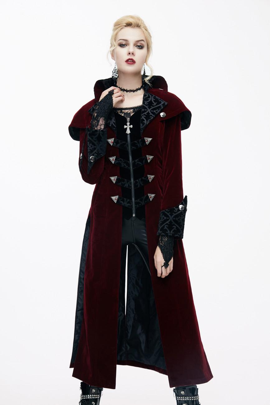pas mal 96dbe 1fdd8 Manteau long en velours rouge pour femme col effet cape, élégant  aristocrate vampire