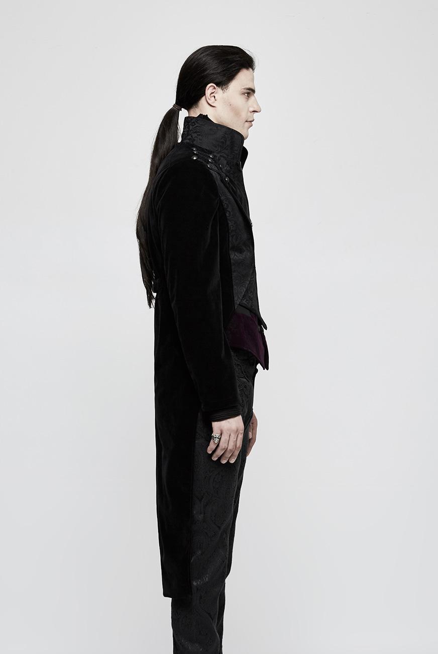 long manteau noir en velours pour homme avec boutons et motifs baroques punk rave steampunk. Black Bedroom Furniture Sets. Home Design Ideas
