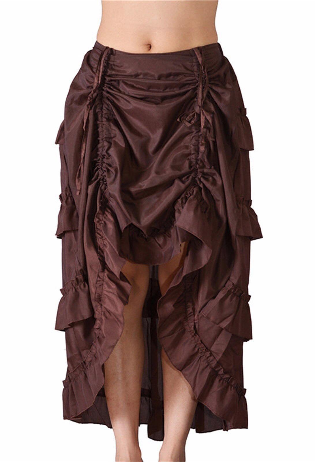 c2dd7f10e60d9 Jupe marron avec étages de froufrous, gothique victorien steampunk