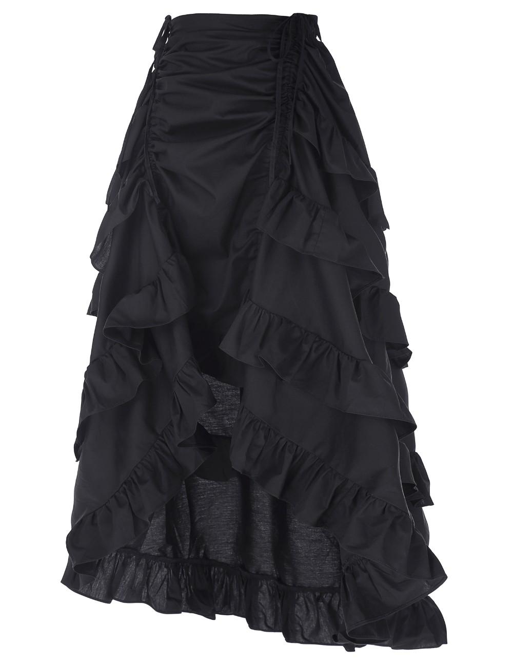 6d02f17c6c4d42 STEAMPUNK STORY Jupe noire avec étages de froufrous, gothique romantique  victorien