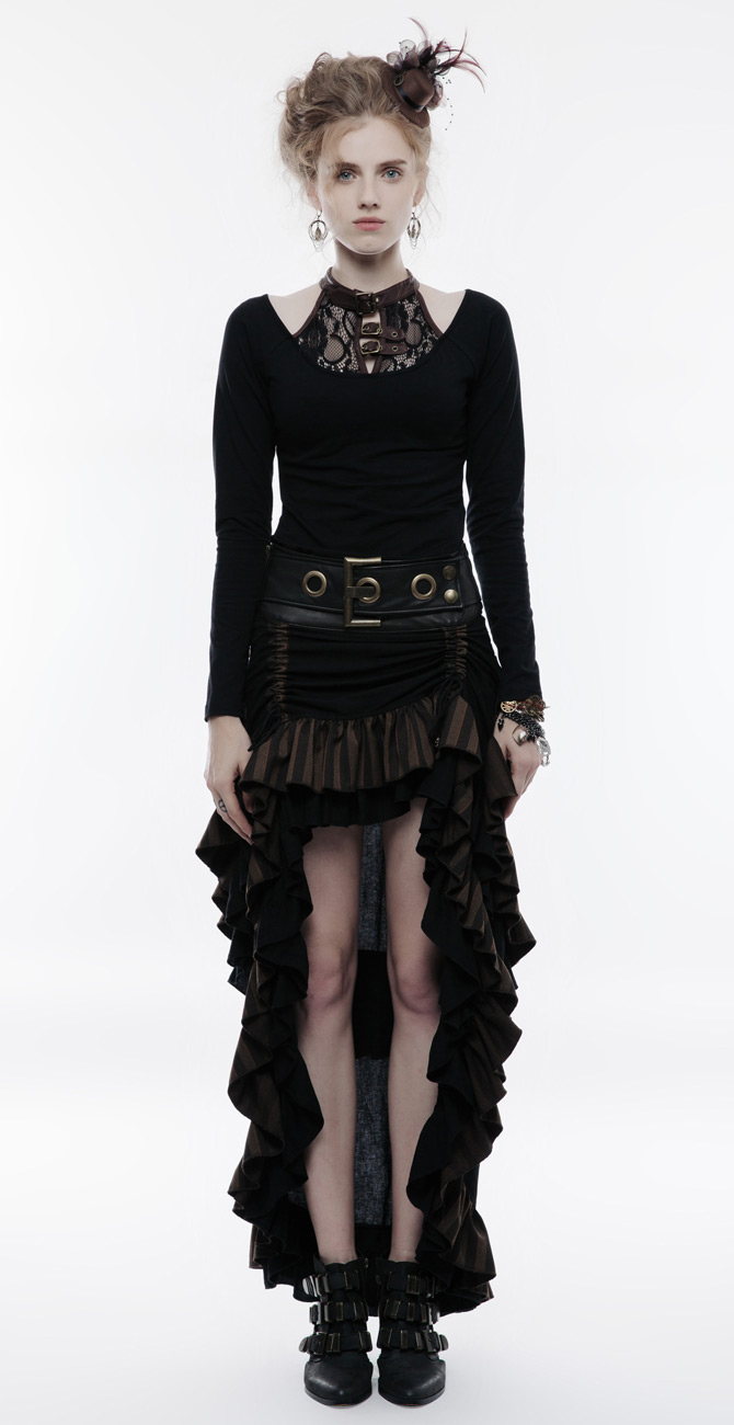 Jupe marron et noire rayée, grosse ceinture décorative, steampunk ... a28a454a0d4