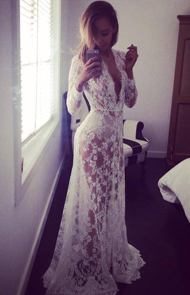 sélection mondiale de regard détaillé couleurs délicates Longue robe en dentelle blanche transparente, nuisette élégante sexy,  lingerie