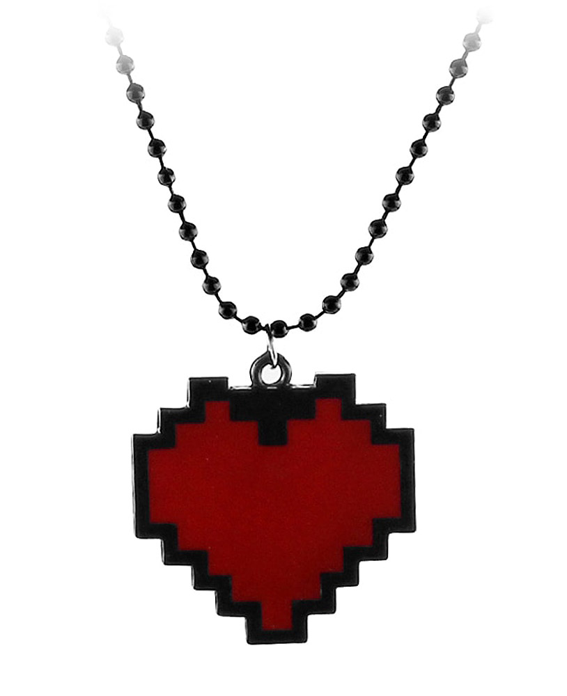 Geek Black Necklace With Pixelated Red Heart Life Video Games Pixel Art