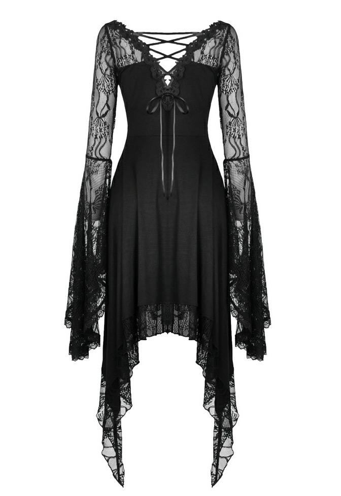 Robe Noire Fluide Manches Et Bordure En Dentelle Broderie Gothique Elegant Darkinlove Steampunk Story Darkil177