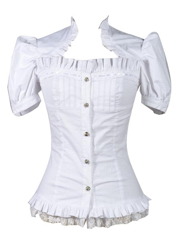 jolie et colorée classcic moderne et élégant à la mode Chemise blanche décolletée manches courtes bouffantes