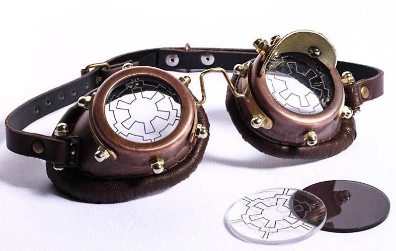 a055e16c3dc82 Lunettes goggles steampunk marron lentille viseur ou noir   STEAMPUNK STORY  - RQBL0107