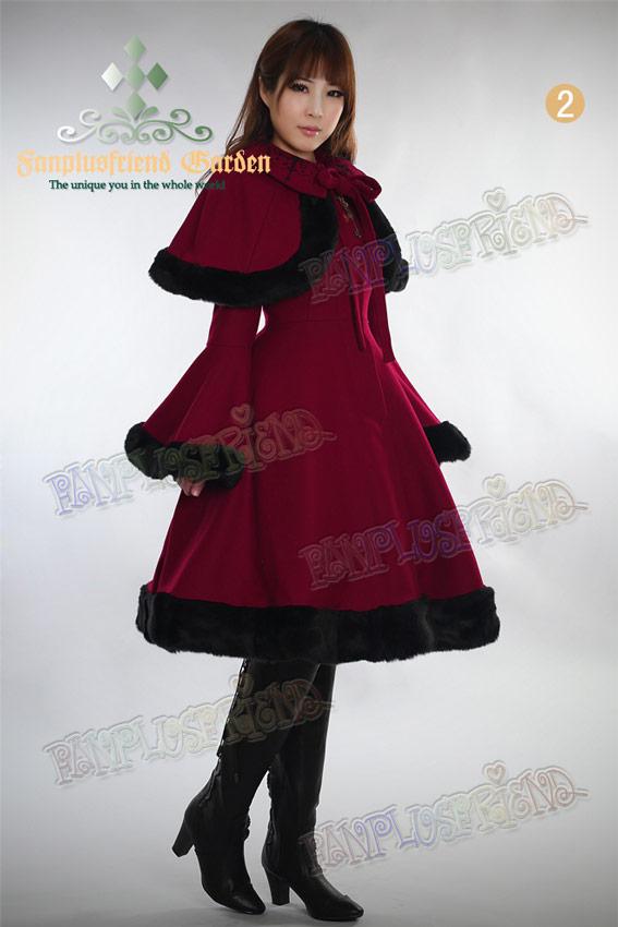 Lolita Manteau Noir Princesse Élégante Laine Chaud Hime Au Collier rTAAf07wq