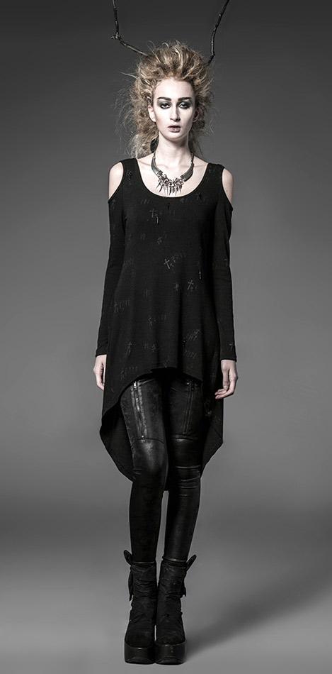 Long top robe court sur le devant long au dos motif croix sans manches Punk  Rave 7523198e0de9