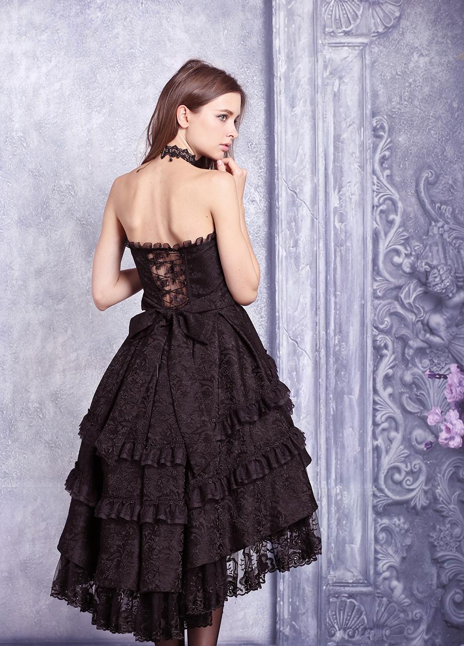 12e93e29b6c ... Robe bustier noire mi longue bouffante dentelle fleurie lolita gothique  vampire Size Chart. Photos shoot. Modèle   inconnu